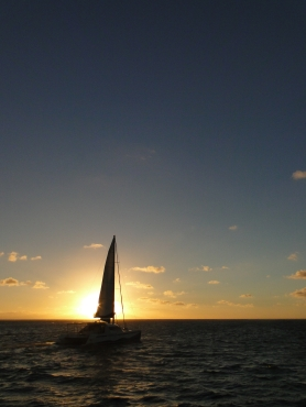 Mauritius catamaran at sunrise